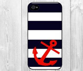Cool Chervon Stripes with Red Nautical Anchor Pattern Hard Snap on Case Protective Skin Cover For Apple iphone 4 4s, iphone 5 5S, iphone 5C
